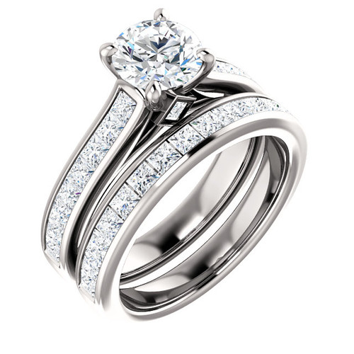Hand Cut & Polished 1 Carat Round Cubic Zirconia Wedding Set in Solid 14 Karat White Gold