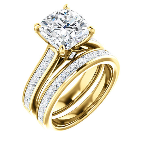Brilliant 4 Carat Cushion Cut Cubic Zirconia Wedding Set in Solid 14 Karat Yellow Gold