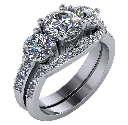 Beautiful 1 Carat Round Cubic Zirconia Three Stone Engagement Ring & Curved Matching Band in Solid 14 Karat White Gold