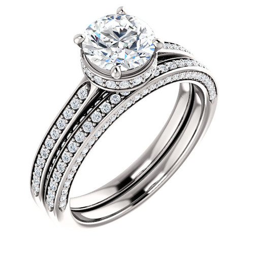 Hand Cut & Polished 1 Carat Cubic Zirconia Hidden Halo Wedding Set