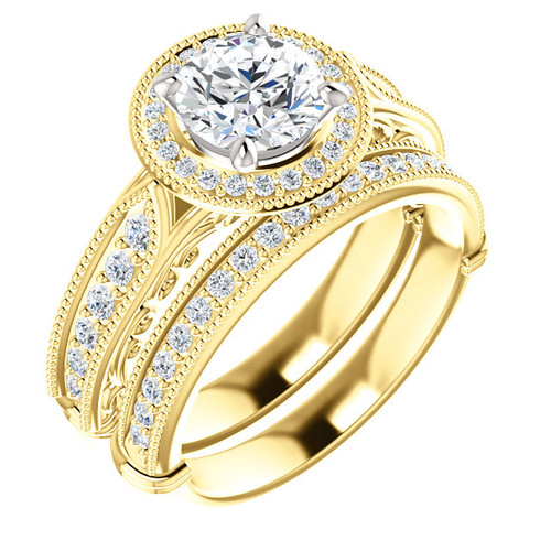 Flawless 1 Carat Round Cubic Zirconia Wedding Set in Solid 14 Karat Yellow Gold with White Gold Stone Setting