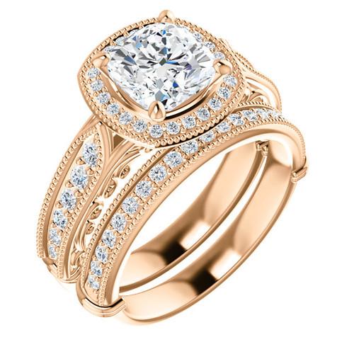 Vivian Cubic Zirconia Wedding Set In Solid 14 Karat Gold