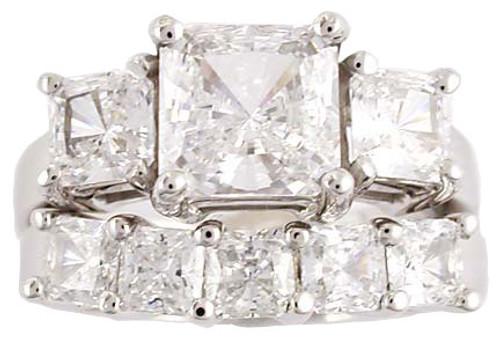 2 Carat Princess Cut CZ 3 Stone Wedding Set
