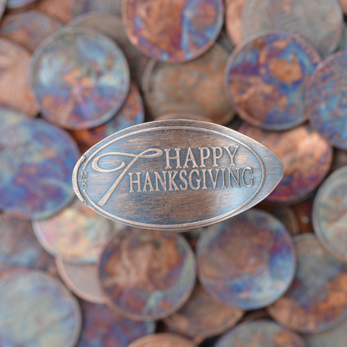 Pressed Copper Penny - Happy Thanksgiving