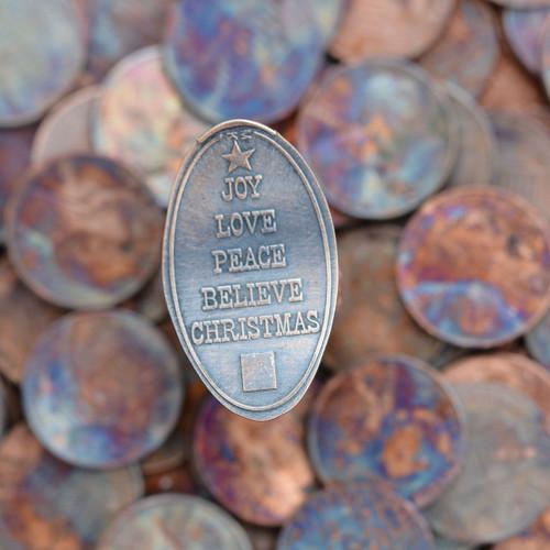 Pressed Copper Penny - Joy, Love, Peace, Believe, Christmas
