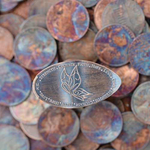 Pressed Copper Penny - Cure Butterfly - Faith, Hope, Love, Cure