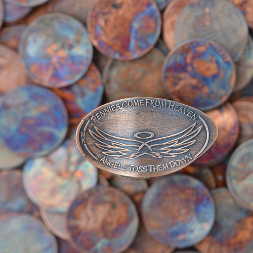 Pressed Copper Pennies - Pennies Come From Heaven - Angels Toss Them Down