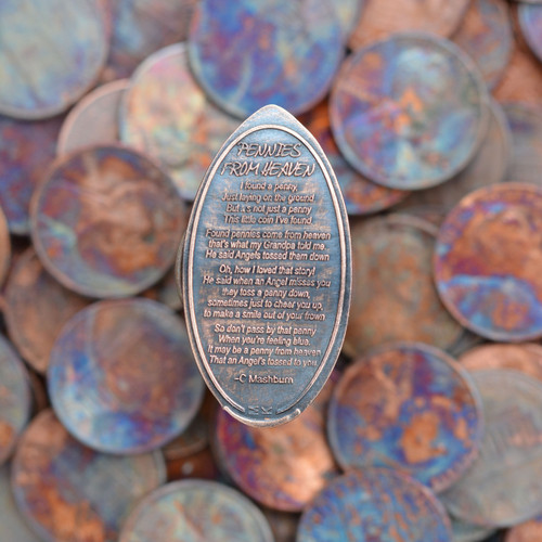 Pressed Copper Penny - Pennies from Heaven Poem by C. Mashburn