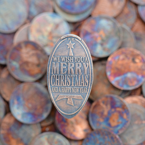 Pressed Copper Penny - We Wish You A Merry Christmas And A Happy New Year