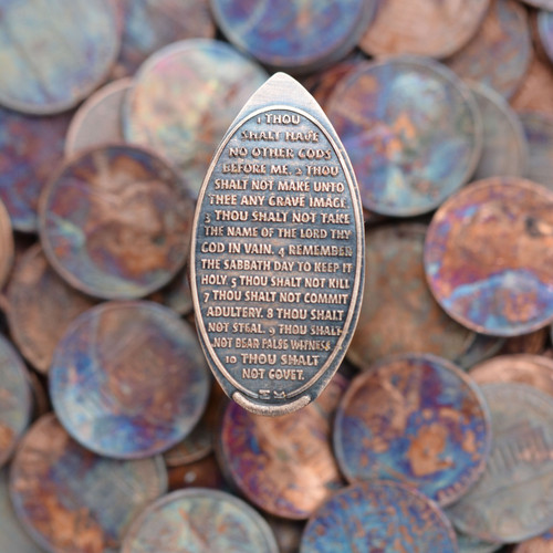 Pressed Copper Penny - Ten Commandments