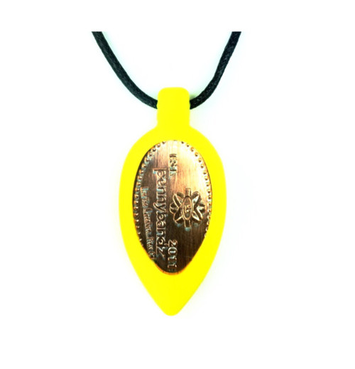 Yellow Mac n' Cheese Pennybandz Necklace, Penny Bands, Penny Bandz, Copper Penny, Pressed Penny, Custom Pressed Penny, Custom Penny, Souvenir Pennies, The Penny Depot