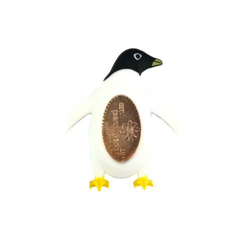 Shorty the Penguin PennyPalz Pennybandz Magnet, Penny Pals, Penny Bands, Penny Bandz, Copper Penny, Pressed Penny, Custom Pressed Penny, Custom Penny, Souvenir Pennies, The Penny Depot