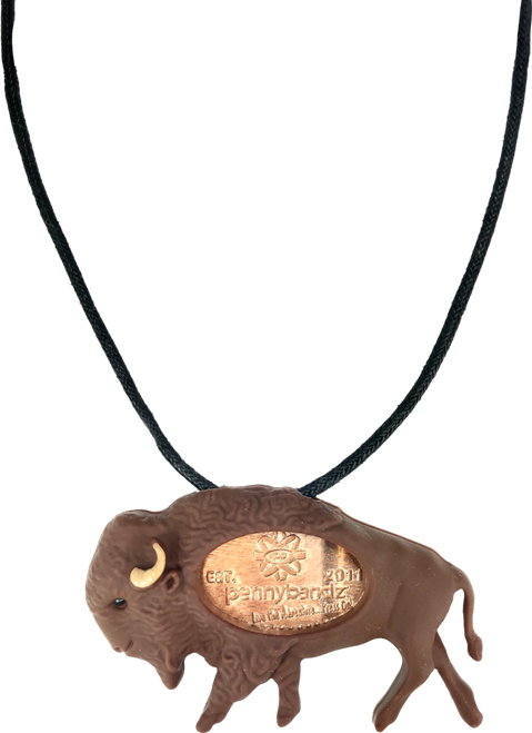 Billy the Bison PennyPalz Pennybandz Necklace, Penny Pals, Penny Bands, Penny Bandz, Copper Penny, Pressed Penny, Custom Pressed Penny, Custom Penny, Souvenir Pennies, The Penny Depot