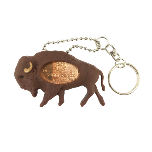 Billy the Bison PennyPalz Pennybandz Key Chain, Penny Pals, Penny Bands, Penny Bandz, Copper Penny, Pressed Penny, Custom Pressed Penny, Custom Penny, Souvenir Pennies, The Penny Depot