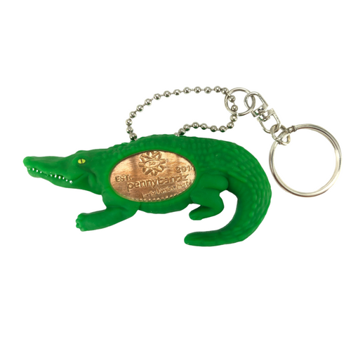 Chomp the Alligator PennyPalz Pennybandz Key Chain, Penny Pals, Penny Bands, Penny Bandz, Copper Penny, Pressed Penny, Custom Pressed Penny, Custom Penny, Souvenir Pennies, The Penny Depot