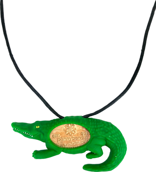 Chomp the Alligator PennyPalz Pennybandz Necklace, Penny Pals, Penny Bands, Penny Bandz, Copper Penny, Pressed Penny, Custom Pressed Penny, Custom Penny, Souvenir Pennies, The Penny Depot