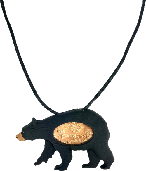 Fuzzy the Black Bear PennyPalz Pennybandz Necklace, Penny Pals, Penny Bands, Penny Bandz, Copper Penny, Pressed Penny, Custom Pressed Penny, Custom Penny, Souvenir Pennies, The Penny Depot
