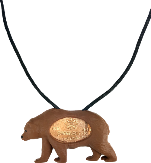 Grizzly the Grizzly Bear PennyPalz Pennybandz Necklace, Penny Pals, Penny Bands, Penny Bandz, Copper Penny, Pressed Penny, Custom Pressed Penny, Custom Penny, Souvenir Pennies, The Penny Depot