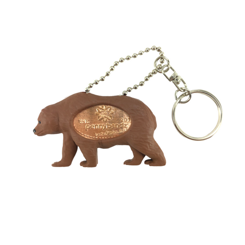 Grizzly the Grizzly Bear PennyPalz Pennybandz Key Chain, Penny Pals, Penny Bands, Penny Bandz, Copper Penny, Pressed Penny, Custom Pressed Penny, Custom Penny, Souvenir Pennies, The Penny Depot