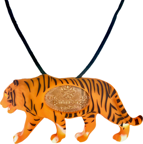 Kota the Tiger PennyPalz Pennybandz Necklace, Penny Pals, Penny Bands, Penny Bandz, Copper Penny, Pressed Penny, Custom Pressed Penny, Custom Penny, Souvenir Pennies, The Penny Depot