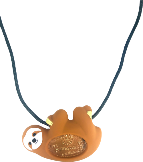 Slo-Mo the Sloth PennyPalz Pennybandz Necklace, Penny Pals, Penny Bands, Penny Bandz, Copper Penny, Pressed Penny, Custom Pressed Penny, Custom Penny, Souvenir Pennies, The Penny Depot
