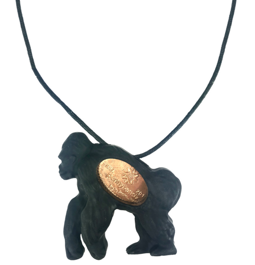 Tiny the Gorilla PennyPalz Pennybandz Necklace, Penny Pals, Penny Bands, Penny Bandz, Copper Penny, Pressed Penny, Custom Pressed Penny, Custom Penny, Souvenir Pennies, The Penny Depot