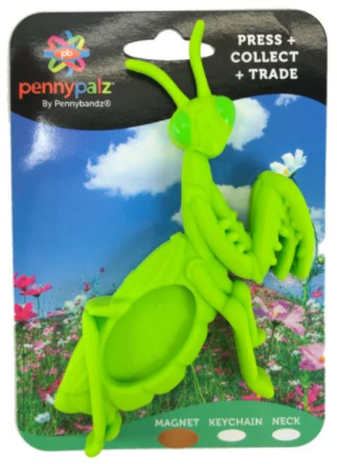 Manny the Praying Mantis PennyPalz Pennybandz Magnet, Penny Pals, Penny Bands, Penny Bandz, Copper Penny, Pressed Penny, Custom Pressed Penny, Custom Penny, Souvenir Pennies, The Penny Depot