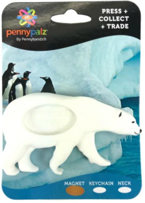 Frost the Polar Bear Magnet PennyPalz Pennybandz Magnet, Penny Pals, Penny Bands, Penny Bandz, Copper Penny, Pressed Penny, Custom Pressed Penny, Custom Penny, Souvenir Pennies, The Penny Depot