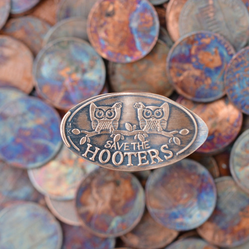 Pressed Copper Penny - Save The Hooters