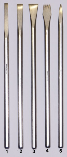 Set of 5 Standard Auriou Chisels