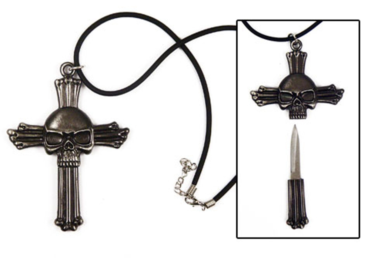 Cross Skull Knife Necklace