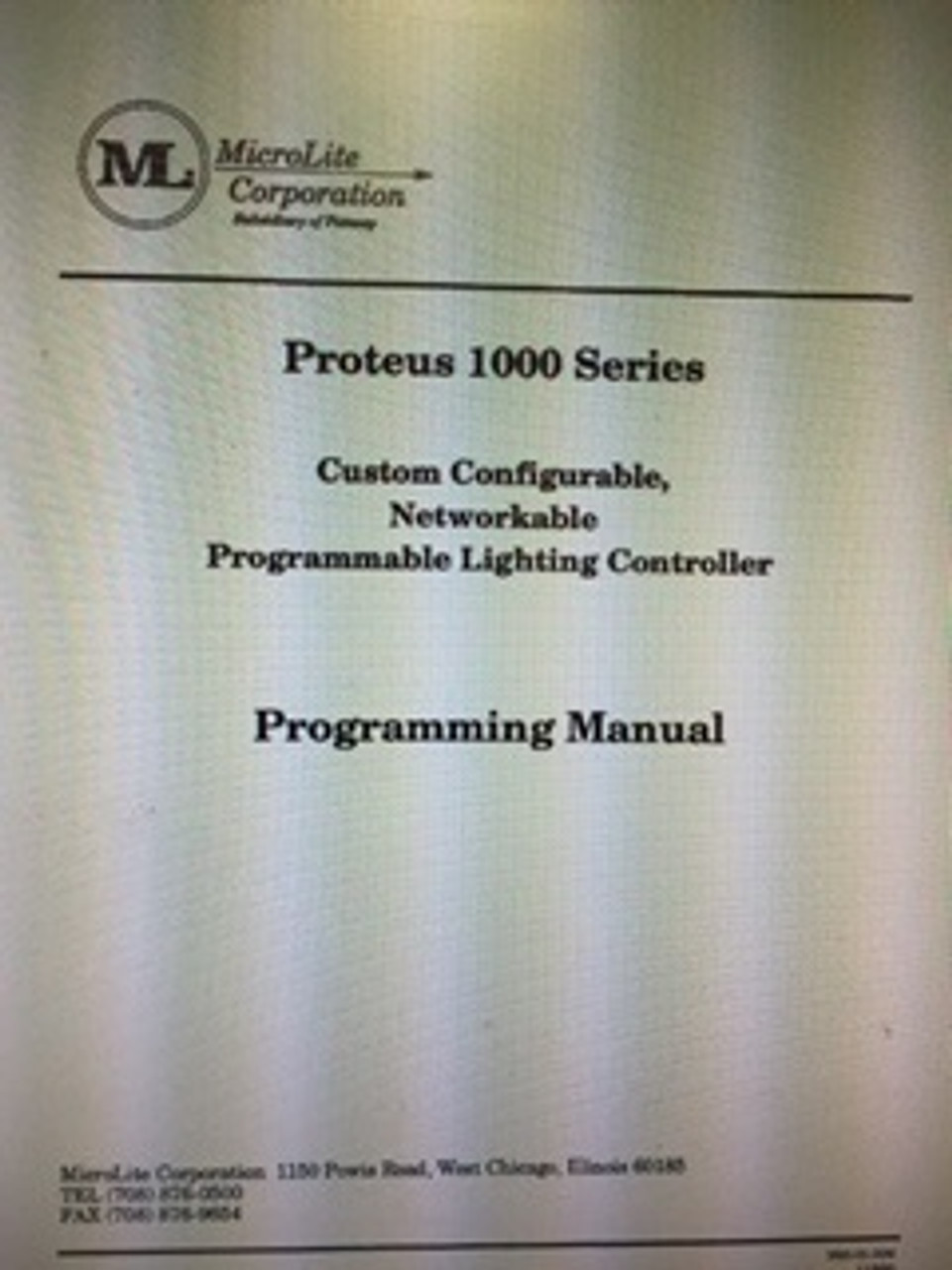 MicroLite Proteus 1000 Series Manual