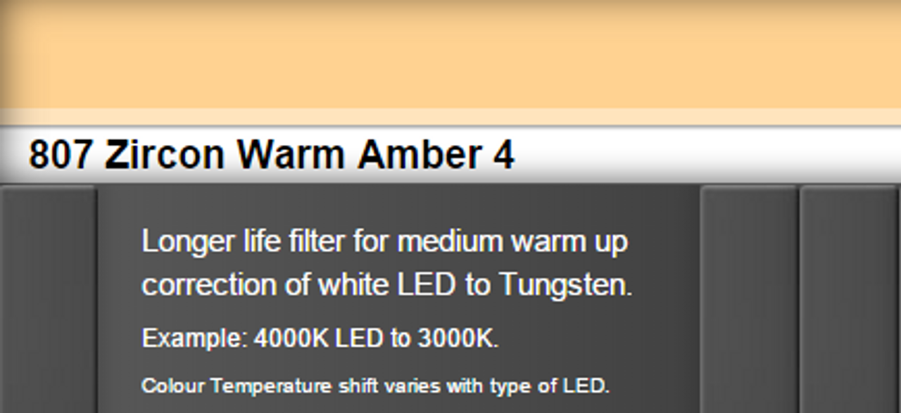 Lee Filters 807 Zircon Warm Amber 4 LED Lighting Gel Sheet