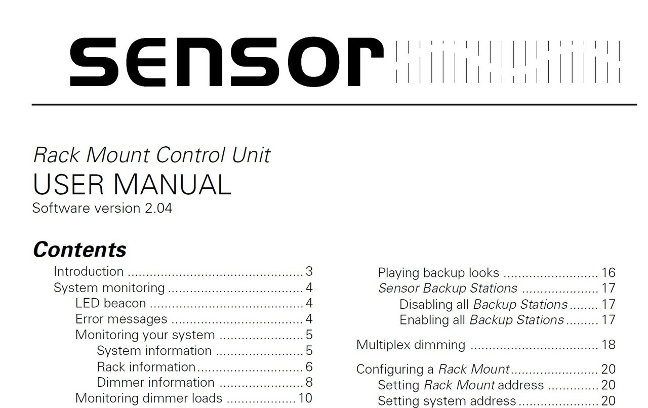 ETC Sensor Rack Mount Control Unit Manual - GoKnight
