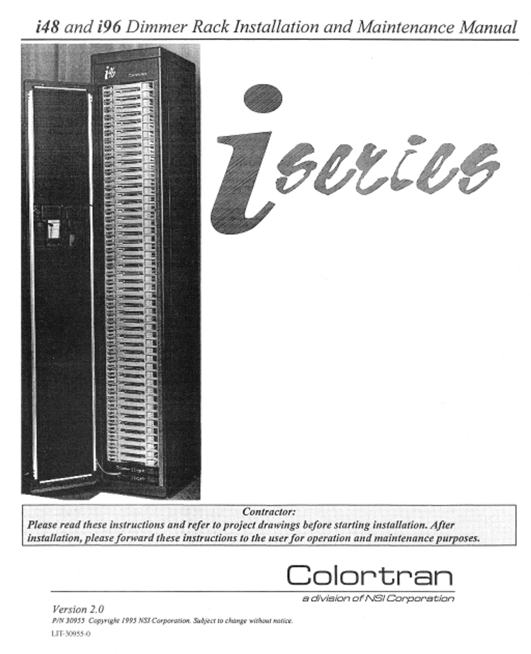 Colortran i48 and i96 Dimmer Rack Installation & Maintenance Manual