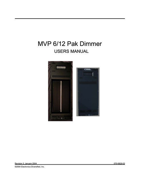 EDI MVP Dimmer Pack User Manual