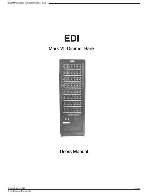 EDI Mark VII Dimmer Rack User Manual