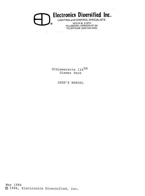 EDI SCRimmerette IIA Dimmer Pack User Manual
