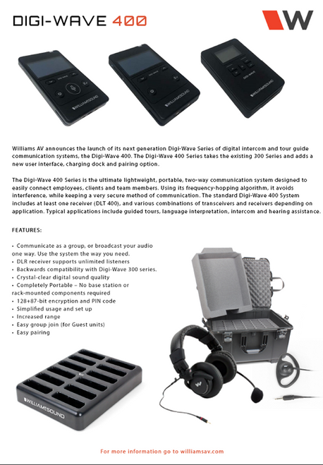 Williams Sound Digi-Wave 400 Version Includes Battery and DW ACC PAC4, Single-Unit Power Supply DLT 400, Replaces DLT 300 transceiver.