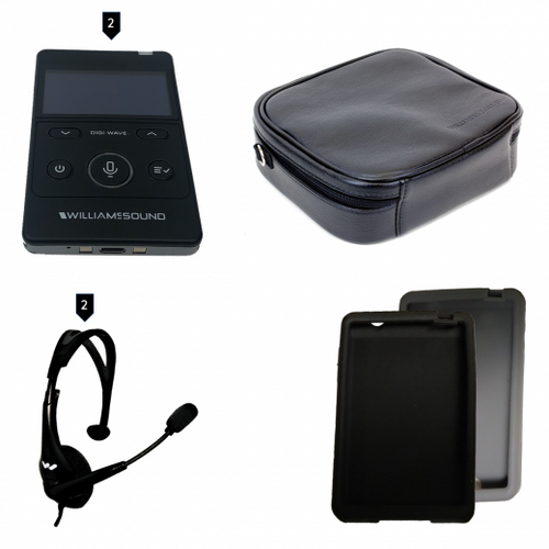 Williams Sound  (DWS PCS 2 400) Digi-Wave 400 Series Personal Communication System Replaces DWS PCS 2 300, Includes 2 DLT 400 transceivers, 2 MIC 144 headset microphones, 1 CCS 043 system carry case, 1 CCS 061 BK black silicone skin, 1 CCS 061 GR grey silicone skin