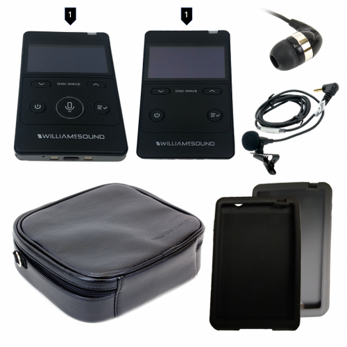 Williams Sound DWS PCS 3 400 RCH Digi-Wave Personal Communication, System Includes 1 DLT 400 transceiver, 1 DLR 400 RCH receiver, 1 MIC 190 lapel microphone, 1 EAR 041 earphone, 1 ADP 016 Y adaptor, 1 CCS 043 system carry case, 1 CCS 061 GR grey silicone skin, 1 CCS 061 BK  black silicone skin, Replaces DWS PCS 3 300