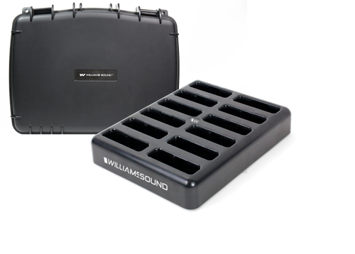 Williams Sound 12-bay Drop-in charger with Case for Digi-Wave DLT 400 Transceivers or DLR 400 RCH Receivers Power Supply Included (CHG 412 PRO)