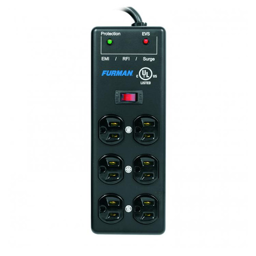 Furman Sound SS-6B-PRO 15A AC Surge Strip 6 Outlet 2X3 Block With Extreme Voltage Shutdown, Metal Chassis, 15Ft Cord