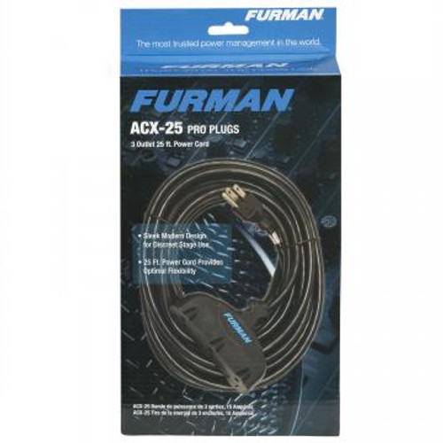 Furman Sound Furman ACX-25 Black 25' 14AWG Extension Cord With Three Female Outlet Sockets (ACX-25)