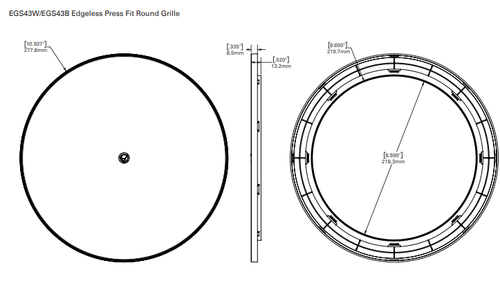 Atlas Sound EGR43B Edgeless Round Grille for FAP33T-W - Black