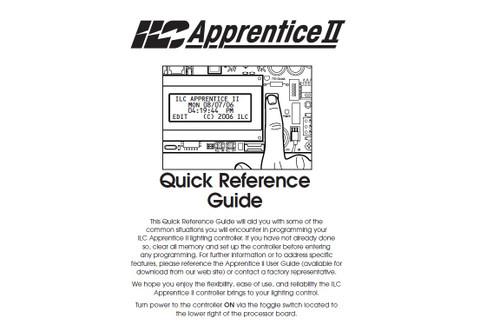 APPRENTICE II QUICK REF. GUIDE