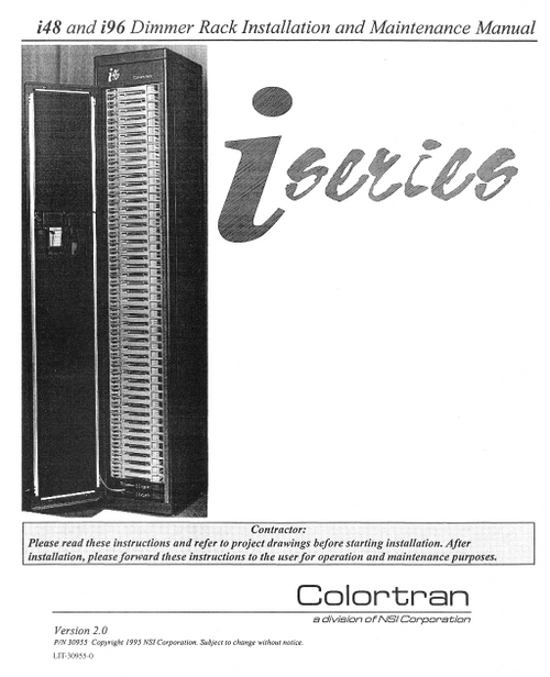 Colortran iseries i48 and i96 Dimmer Rack Installation & Maintenance Manual