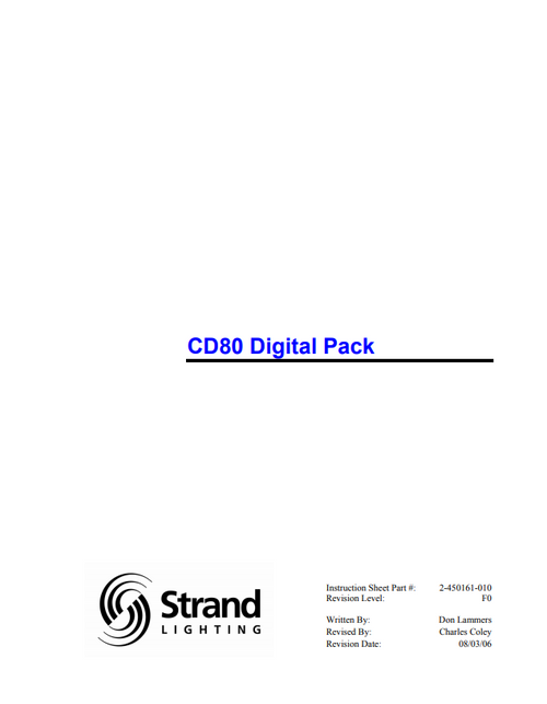 Strand CD80 Digital Pack Manual
