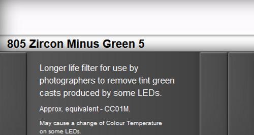 Lee Filters 805 Zircon Minus Green 5 LED Lighting Gel Sheet
