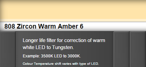 Lee Filters 808 Zircon Warm Amber 6 LED Lighting Gel Sheet
